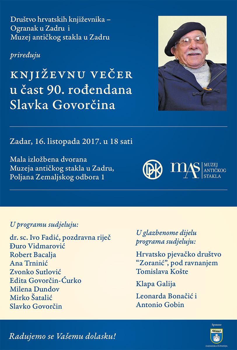 Književna večer u čast 90. rođendana Slavka Govorčina